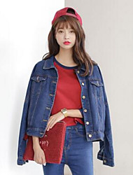 Women's Going out Vintage Denim Jackets,Solid Standing Collar Long Sleeve Fall Blue Cotton Medium