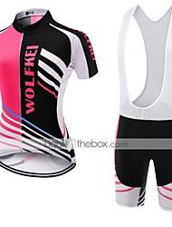 WOLFKEI Camisa com Bermuda Bretelle Mulheres Manga Curta Moto Conjuntos de Roupas Secagem Rápida Á Prova-de-Pó Vestível Respirável