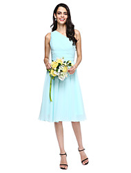 Lanting Bride® Knee-length Chiffon Bridesmaid Dress - A-line One Shoulder with Side Draping