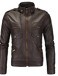 Men's Going out Street chic Leather Jackets,Solid Stand Long Sleeve Fall Black / Brown PU Medium