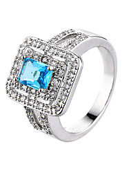 Ring Emerald AAA Cubic Zirconia Zircon Cubic Zirconia Gold Plated Alloy Simple Style Fashion White Green Pink Light Blue JewelryWedding