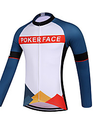 Sports QKI POKER FACE Cycling Jersey Unisex Long Sleeve Bike Breathable / Quick Dry / Anatomic Design / Front Zipper / Sweat-wicking Jersey Polyester
