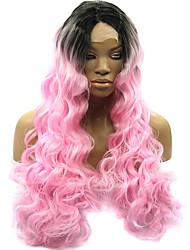 Ombre Pink Wig 18-28 Inch Curly Body Wave Glueless Lace Front Heat Resistant Synthetic Wigs