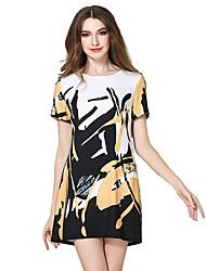 Trapèze Robe Femme Décontracté / Quotidien Chic de Rue,Imprimé Col Arrondi Midi Manches Courtes Multi-couleur Polyester Eté Taille Normale