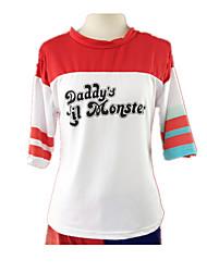 Fantasias de Cosplay Super-Heróis Cosplay de Filmes Vermelho / Branco Patchwork Camiseta Dia Das Bruxas / Natal / Ano Novo Feminino