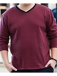 Herren Solide Einfach Lässig/Alltäglich T-shirt,V-Ausschnitt Herbst Langarm Rot Baumwolle Mittel