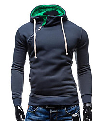 Normal Hoodies Hommes Décontracté / Quotidien simple,Couleur Pleine Gris Capuche Manches Longues Coton Automne / Hiver Moyen Non Elastique