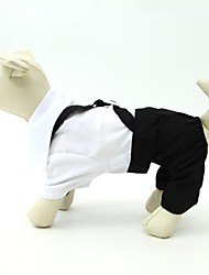 Cachorro Fantasias Smoking Roupas para Cães Fofo Aniversário Casamento Blocos de cor Branco/Preto
