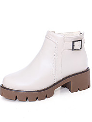 Women's Boots Winter Comfort PU Casual Chunky Heel Chain Button Black White Beige Other