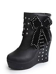 Women's Boots Winter Platform PU Casual Wedge Heel Platform Rivet Black White