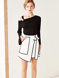 Damen Röcke,A-Linie MusterLässig/Alltäglich Einfach Mittlere Hüfthöhe Über dem Knie Elastizität Polyester Micro-elastisch Sommer