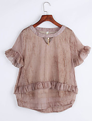 Summer / Fall Women's Simple / Cute  Blouse,Solid Round Neck Short Sleeve Blue / Brown Polyester