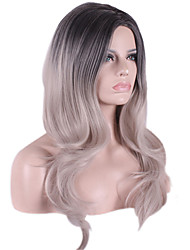 Long Body Wave Medium Side Bang Synthetic Wigs Black Grey Heat Resistant