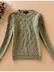 Damen Kurz Pullover-Lässig/Alltäglich Einfach Druck Beige Grau Grün Rundhalsausschnitt Langarm Baumwolle Herbst Mittel Mikro-elastisch