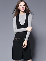 YBKCP Women's Casual/Daily Simple Sweater DressSolid Round Neck Knee-length Long Sleeve Black Cotton Fall Mid Rise Micro-elastic Medium