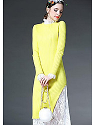 Damen Standard Pullover-Ausgehen Retro Solide Schwarz Gelb Rundhalsausschnitt Langarm Baumwolle Frühling Mittel Unelastisch