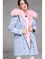 Women's Casual/Daily Simple Coat,Solid Shirt Collar Long Sleeve Fall / Winter Blue / Black Wool Medium