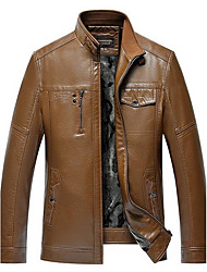 Men's Casual/Daily Simple Leather Jackets,Solid Stand Long Sleeve Fall / Winter Brown / Yellow / Multi-color PU Thick