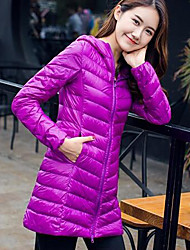 Women's Down Coat,Simple Casual/Daily Solid-Nylon White Duck Down Long Sleeve Red / Black / Purple