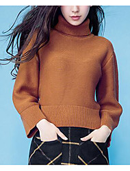 Women's Casual/Daily Simple Long Pullover,Solid Brown Turtleneck Long Sleeve Wool Fall Medium Micro-elastic