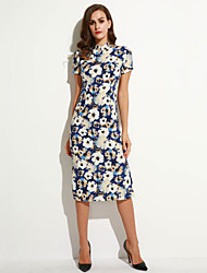 Women's Party/Cocktail Vintage Bodycon Dress,Floral Stand Midi Short Sleeve Multi-color Linen Summer