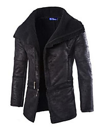 Men's Going out / Casual/Daily Simple Trench Coat,Solid Shirt Collar Long Sleeve Fall / Winter Blue / White / Black PU Thick