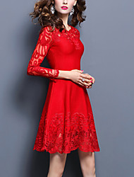 Women's Going out / Party/Cocktail Sexy / Street chic A Line / Sheath Dress,Solid Round Neck Above Knee Long Sleeve Red / BlackWool /