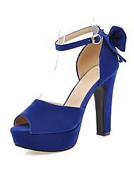 Women's Sandals Spring Summer Fall Platform Comfort Ankle Strap Fleece Wedding Dress Party & Evening Chunky Heel Platform Bowknot Buckle