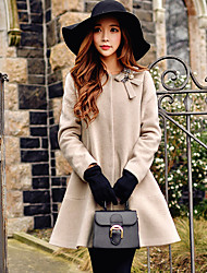 Women's Going out / Casual/Daily / Holiday Vintage / Street chic / Sophisticated CoatSolid Round Neck Long Sleeve Fall / Winter Wool Coat