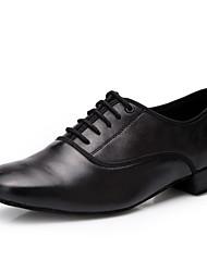 Non Customizable Men's Dance Shoes Leather Leather Latin Heels Low Heel Performance Black