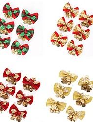 6шт / комплект красный рождественские милый лук дерево висячие украшения Xmas бантом орнамент металлический колокол рождества 5 * 4см