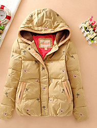 Women's Short Down Coat,Simple Casual/Daily Print-Polyester White Duck Down Long Sleeve Hooded Pink / Brown