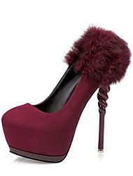 Damen-High Heels-Kleid-Leder-Stöckelabsatz-Komfort-Schwarz / Grau / Burgund
