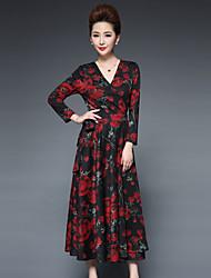 Trapèze Robe Femme Décontracté / Quotidien / Grandes Tailles Chinoiserie,Fleur Col en V Midi / Au dessus du genou Manches Longues Rouge