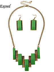 Brand Hot Selling High Fashion Green Resin Anti-Gold Chain Jewelry Set Earring and Necklace for Women JS180239-1