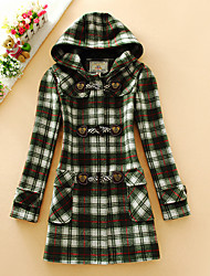 Women's Casual/Daily Simple Coat,Houndstooth Hooded Long Sleeve Fall Pink / Red / Green Wool Medium