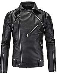 Men's Going out Street chic Leather Jackets,Solid Round Neck Long Sleeve Fall Black PU Medium