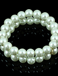 Top Quality Milk White Elegant Fashion Glass Imitation Pearl Stretch Bracelet for Christmas Gift BL140098