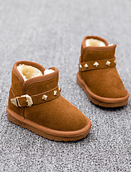 Kids' Girls' Baby Boots Comfort Snow Boots Leather Winter Casual Comfort Snow Boots Rivet Flat Heel Camel Flat