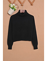 Women's Casual/Daily Simple Short Pullover,Solid Turtleneck Long Sleeves Cashmere Fall Winter Thick Micro-elastic
