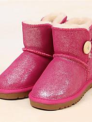 Girls' Boots Comfort Glitter Winter Casual Snow Boots Sequin Flat Heel Orange Fuchsia Light Purple Red Blushing Pink Flat