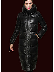 Women's Long Down Coat,Sexy Simple Going out Casual/Daily Holiday Solid-Polyester White Duck Down Long Sleeve Turtleneck