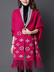 Women's Casual/Daily Vintage Cloak/Capes,Patchwork V Neck Long Sleeve Fall / Winter Black / Purple Wool / Acrylic Medium