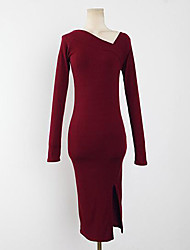 Women's Casual/Daily Sexy Sheath Dress,Solid V Neck Knee-length Long Sleeve Red / Black Cotton / Acrylic / Polyester Summer High Rise