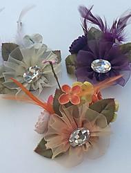 Fleurs de mariage Roses Boutonnières Mariage La Fête / soirée Satin Tulle Strass