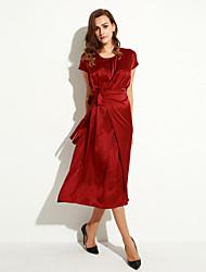 Mulheres Swing Vestido,Tamanhos Grandes Vintage Sólido Decote Redondo Longo Manga Curta Vermelho / Verde Poliéster Verão / Outono