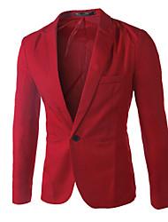 Blazer Hommes,Couleur Pleine Décontracté / Quotidien / Travail / Habillées / Grandes Tailles simple Toutes les Saisons Manches Longues