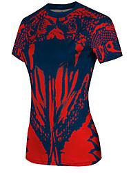 Corrida Camiseta Mulheres Manga Curta Respirável / Secagem Rápida / Confortável Elastano / Náilon ChinêsAcampar e Caminhar / Exercicio e