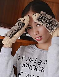 as luvas de inverno bonito hedgehog alcance malhas de comprimento de pulso das mulheres