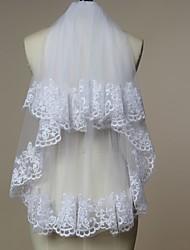 Véus de Noiva Duas Camadas Véu Cotovelo Borda com aplicação de Renda Tule